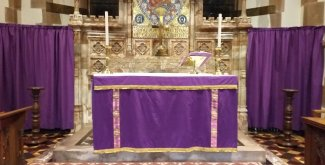 Altar with purple hangings