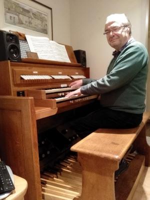 Greg at the organ console